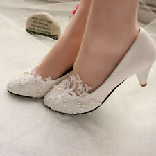 Women's Lace Wedding Shoes Pearls Bridal shoes High Low Heels flat shoes pump