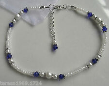 Stretch white glass pearl beaded anklet ankle bracelet bridal something blue