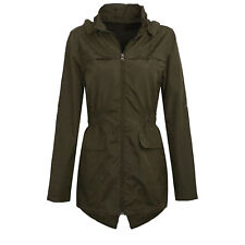 Womens Plus Size Lightweight Hooded Showerproof Rain Coat Jacket Mac Khaki 22