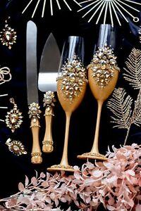 Gold wedding flutes Cake server set Wedding cake plate Wedding forks
