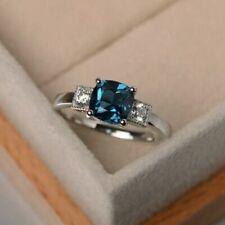 2Ct Cushion cut Tourmaline & Diamond Engagement Ring 14K White Gold Finsh