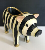 NEW Mackenzie Childs Authentic  COURTLY STRIPED PIG Hand-Painted Resin