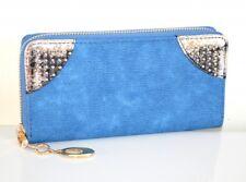 Portefeuille femme bleu or pochette clutch faux cuir bourse porte-monnaie A16