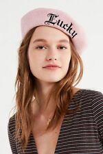 URBAN OUTFITTERS Beret LUCKY Wool Pink Felted Embroidered UO Winter Hat NWT