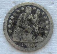 1860-S Seated Liberty Dime Rare Date VG +  Detail Corroded