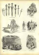 Old Engravings Wire Drawing Machines Making Screws Ancient Sword Daggers