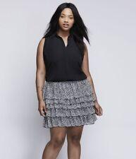 Lane Bryant Womens Skirt 22/24 3X Tiered Plus Size Black Dot Print