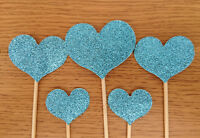 Glitter Heart Cupcake Pick/ Flag Toppers Birthday Wedding Party Cake Decor 5+10