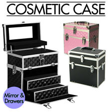 Portable Beauty Cosmetic Carry Case Makeup Diamond Organisation Box w/ Mirror AU