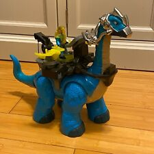 Fisher-Price Imaginext Apatosaurus Blue Dinosaur with Battle Gear and Figure set
