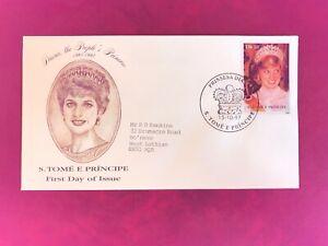 SAO TOME ET PRINCIPE 1998 FDC DANBURY PRINCESS DIANA WEDDING ROYALTY # RARE #