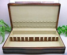 Vtg Large Sterling Silverplate Flatware Wooden Wood Storage Chest Case Box 12+