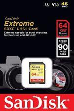 SanDisk 64GB SD Extreme 90MB/s U3 4K V30 64G SDXC USH-I C10 SDSDXVE-064G