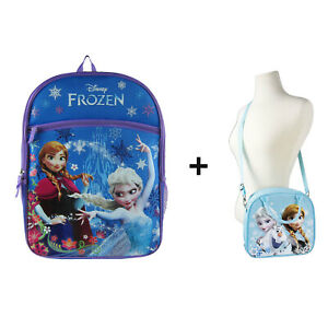 New Blue Disney Frozen Princess Elsa Anna School Bag Backpack Lunch Box Bag
