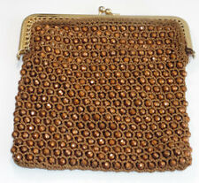 Vintage Gold Mesh Braided Crochet Beads Evening Bag Coin Purse Kisslock 1930