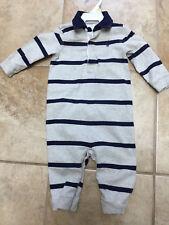 RALPH LAUREN RL18 BOY sz 9M Longalls ROMPER Gray & Blue Stripes Sleeper Suit