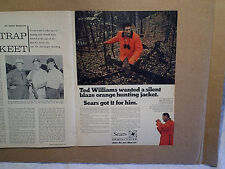 1969 TED WILLIAMS SEARS ORANGE HUNTING JACKET Ad,AD PRINT ONLY,boston red sox,