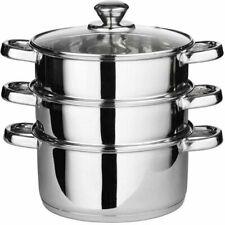 Heavy Duty 3 niveaux en acier inoxydable Steamer Pot Pan Cookware Set 22 cm + co...