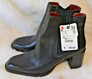 New w/tags $ 69.99 ZARA black leather ankle BOOTS s- 36/5