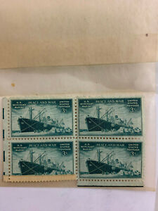 U.S. Merchant Marine Peace And War 3 Cent Postage Stamps (4) WWII Era
