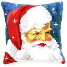 Kind Santa/Xmas- Large Holed Printed Tapestry Canvas Cushion Kit - Cross Stitch