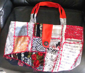 Handmade Qulted Bag Cotton Fabrics+embroidery Reds 13X21Tote black Button