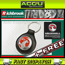 Richbrook Vauxhall Official Licensed Black Leather Vauxhall Logo Car Keyring+Fre