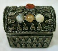 Ornate Metal Mini Chest Ring Trinket Box Stones Embossed Hinged Lid India