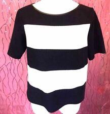 31f8e059c3826c Zara Womens Top Sz L Black White Stripe Short Sleeve Leather Trim Career  AD10