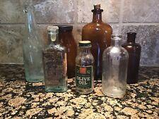 Lot of 7 Vintage Old Glass Bottles