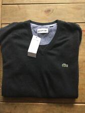 BNWT-Lacoste-MEN 'S maglione scollo a V-Taglia S-Grigio Fumo-Cotone