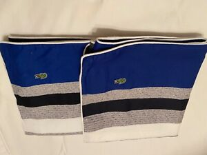 Lacoste Multi Bold Stripped  Cotton King Shams (2) New