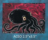 Original ACEO - Octopus - miniature acrylic painting, not framed
