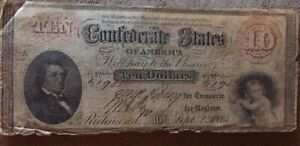 1861 CSA T-24 Rare $10 Currency Note