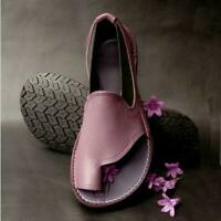 Flip Flops Women European Sandals Flats Shoes Loafers OU-Leather Shoes size