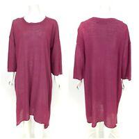 Womens Gudrun Sjoden Tunic Dress Organic Linen Purple Smock 3/4 Sleeve Size L