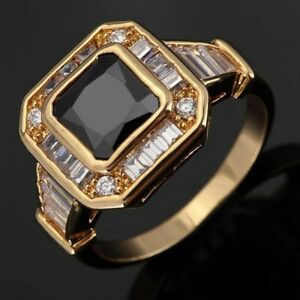 Fashion Rings For Men Size 10 Engagement Black Sapphire 18K Yellow Gold Filled