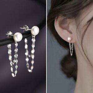 925 Silver Round Pearl Tassel Earrings Drop Dangle Women Wedding Jewelry Gifts