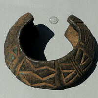 antique old 3 lb decorated copper alloy bronze african bracelet nigeria #166
