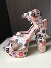 RIVER ISLAND Ladies Platform High Heel Shoe Sandal Summer Floral Pink Size 5 38