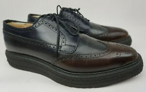 Prada Triple Sole Wingtip Black Brown Patent Leather Shoes Creepers Size 9.5 UK
