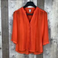 H&M Womens Size 8 Button-Down Blouse Orange Pleated V-Neck 3/4 Sleeve