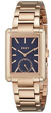 DKNY Gershwin Blue Dial Rectangular Shaped Rose Gold Steel Women Watch NY2626
