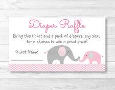Pink Chevron Elephant Printable Baby Shower Diaper Raffle Tickets