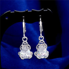 18K White Gold Plated White Crystal Cubic Zirconia Frog Dangle Circle Earrings