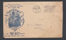 USA 1907 PORK PRODUCTS ILLUSTRATED COVER ST. LOUIS TO HOLOW MISSOURI