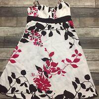 Speechless Women's Asian Inspired Cherry Blossom Dress White Pink Brown Size 7