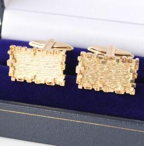 Vintage 1970's Heavy 9ct Gold Cufflinks. Rectangle Bark Textured Design Gift Box