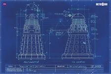 Doctor Who Daleks Blue Print 24x36 Tv Poster