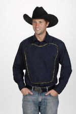 Western Express Mens RETRO CUSTOM WESTERN BIB Shirt - Navy & Yellow- 2XL